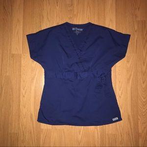 Grey's Anatomy scrub top with faux wrap detail